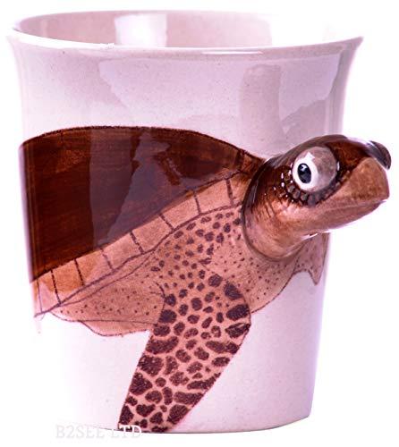 Schildkröten Tier Tasse Becher 3D mit Schildkröte Tier-Motiv Keramik Tasse als Geschenk für Tierfreunde Tierliebhaber