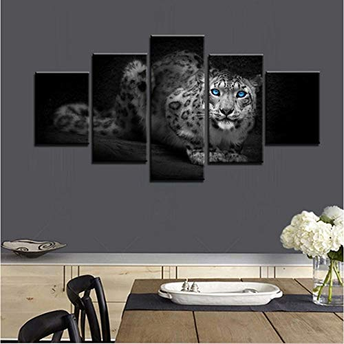 wangjingjing1 Mooie & Cool Leopard Panthera blauwe ogen olie dier schilderen canvas muurkunst badkamer decor 3D muurkunst geheel 40X60/80/100CM Geen frame.