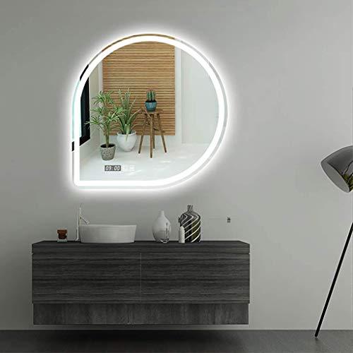 ATO ROMX LED Badspiegel 80x80cm Beleuchtung Badezimmerspiegel Wandspiegel mit 6000K Kaltweiß/3000K Warmes Licht, Touch-Schalter, Beschlagfrei, Uhr
