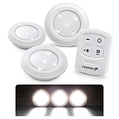 Fosmon Wireless LED Puck Light 3 Pack with Remote Control, Under Cabinet Lighting [5 Daylight White LED, Wide Floodlight Tap Style, 30-Minute Timer, Battery Operated] for Kitchen Closet Pantry Counter