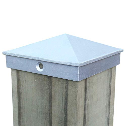 4x4 Fence Post Cap (3 1/2') 4 Pack Decorative Unfinished Aluminum - Mailbox, Lamp Post, Wood Deck, Dock, Piling Caps for Wooden Posts by WeatherPRO Post Caps