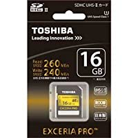 TOSHIBA 高速SDHCカード 16GB EXCERIA PRO UHS-II U1対応 (最大読出速度260MB/s、最大書込速度240MB/s) SD-XU016GA