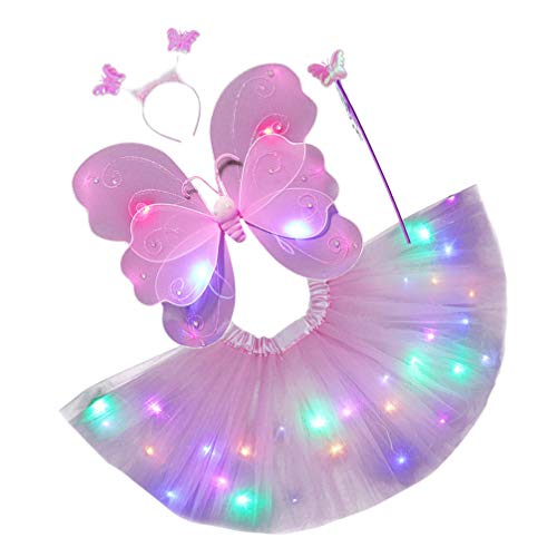 SOIMISS Conjunto de Disfraz de Princesa de Hadas LED para Niñas Alas de Mariposa Falda Tutú Varita Diadema