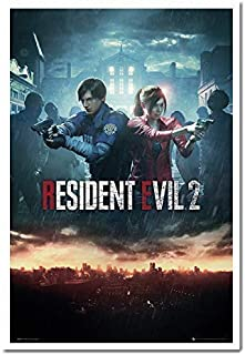 Resident Evil 2 Poster City Cork Pin Memo Board White Framed - 96.5 x 66 cms (Approx 38 x 26 inches)