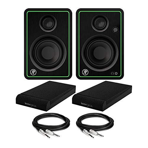 """Mackie CR3-XBT Monitores multimedia de 3 pulgadas con Bluetooth (par) Paquete con almohadillas de aislamiento para monitor Knox Gear Studio (apto para monitores de 3 o 4 pulgadas) y cables TRS de 1/4"""" a 1/4"""" (4 artículos)"""