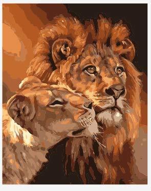 Lege doe-het-zelf schilderen op cijfers voor volwassenen, leeuwenpaar, dierbeschildering op nummers, set op canvas voor beginners, nieuw schilderwerk, 40 x 50 cm, zonder lijst