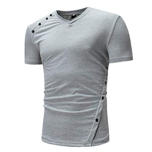 ZYYM Mens Slim Fit Casual T-Shirts Short Sleeve Muscle Shirt Fashion Casual Tops Mens V Neck Short Sleeve Solid Color Tshirts Summer Casual Sportswear Men Shirts Short Sleeve Henley Shirt