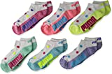 PUMA Big Girls' 6 Pack Low Cut Socks, Bright Combo, 9-11