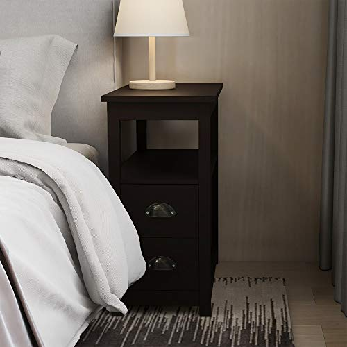 """RASOO Side Table Living Room Narrow Rustic End Table Bedroom with 2 Drawers and 1 Open Shelf for Small Space(Brown, 23.6"""" L x 11.8"""" W x 24''H)"""