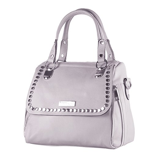 BORDERLINE - 100% Made in Italy - Exclusivo bolso suave de la mujer del cuero genuino con tachuelas - JESSICA (Gris)