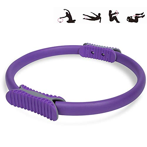 MYYINGELE Yoga Pilates Ring, Pilates Gym Workout Yoga Resistance Circle, Professional Pilates Women Fitness Sports Magic Exercise Fitness Ring to Burn Fat for Home Workout, Gym, Purple