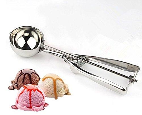 Cuchara de Helado de Acero Inoxidable Premium Especial para cavar en la Bola para Helado y Frutas, Acero Inoxidable, Plateado, 4 cm