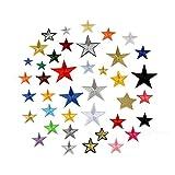 Juland 36PCS Bestickte Patches Selbstklebend Gestickter Pentagram-Brauch Fünf-Stern-Rucksack-Patches für Männer, Frauen, Jungen, Mädchen, Kinder