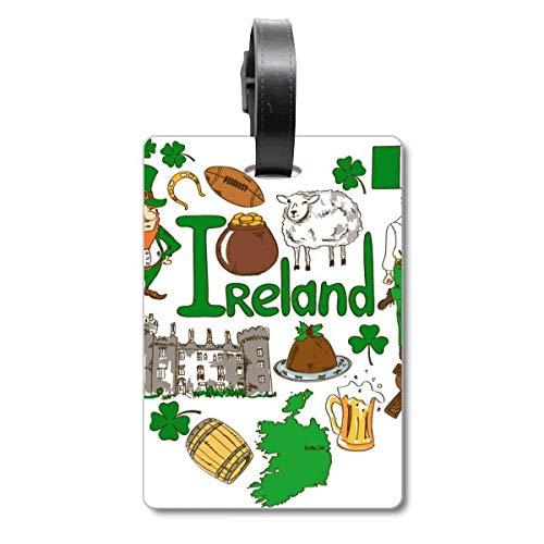 Etiqueta de identificación para Maleta con la Bandera Nacional de Irlanda y el Texto en inglés Love Heart