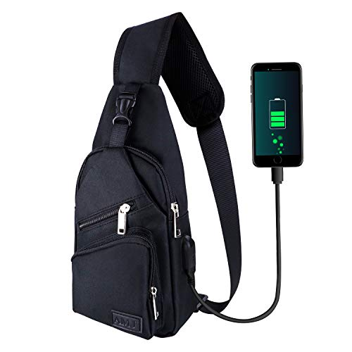 AMJ Sling Bag Shoulder Backpack Chest Bags Crossbody Daypack for Women & Men with USB Cable for Hiking Camping Outdoor Sport Cycling Trip Black