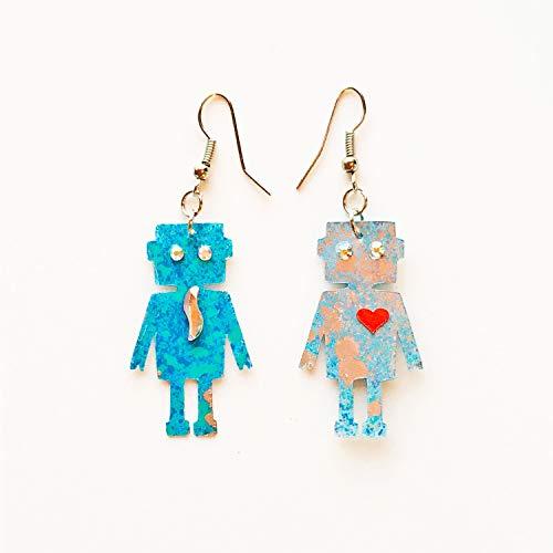 Tiny Robots Love - Pendientes largos con brillantes - Pendientes con robots - Joyas robot - Accesorios - Novedad - Bisutería aretes - Regalo
