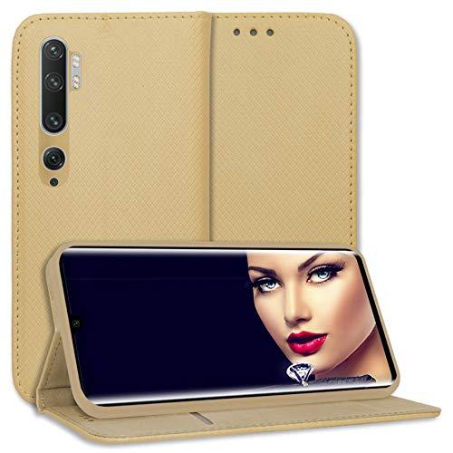 mtb more energy® Funda Bookstyle para Xiaomi Mi Note 10, Mi Note 10 Pro (6.47'') - Oro - Cuero sintético - Carcasa Estuche Wallet Case Cover