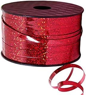 Fodlon Cinta Roja Reflectante Cinta de Raso Cintas para Globo Cintas Decorativas Cintas Arbol de Navidad para CelebracióN Navideña Florista Decoración de Regalo Arco, 5mm*90m