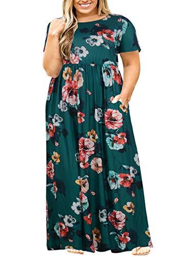 Nemidor Women Short Sleeve Loose Plain Casual Plus Size Long Maxi Dress with Pockets (22W, Green Print)