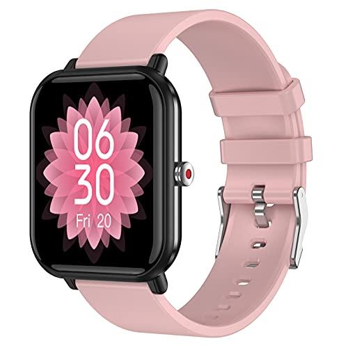QFSLR Smartwatch, Reloj Inteligente Hombre Mujer con Monitoreo De Temperatura Monitor De Frecuencia Cardíaca Monitor De Presión Arterial Monitoreo De Oxígeno En Sangre,Rosado