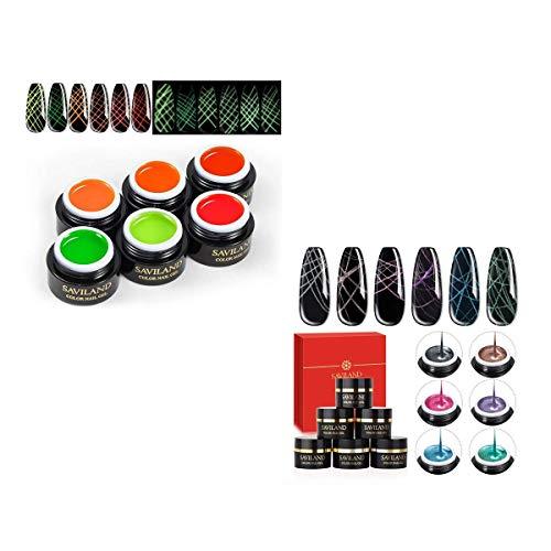 12 Colors Spider Gel, Saviland Matrix Gel with Gel Paint Design Nail Art Wire Drawing Gel for Line (Set 4+Set 5)