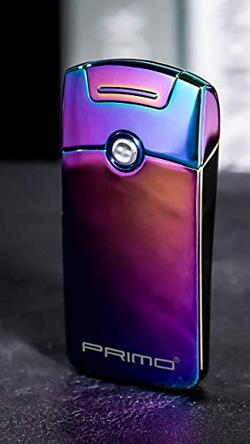 Primo Elektrisches Feuerzeug mit Lichtbogen, via USB aufladbar, winddicht, flammenlos, Plasma, Feuerzeug, Geschenkidee für Weihnachten / für Herren, regenbogenfarben