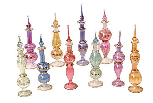 CraftsOfEgypt LOT / Lot de 10 soufflé à la bouche Egyptian Perfume BOUTEILLES verre Pyrex Hauteur 4inch (12 cm