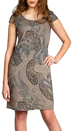 Caspar SKL022 Damen Sommer Leinenkleid mit Paisley Print bis Größe 50, Farbe:Taupe, Größe:3XL - DE46 UK18 IT50 ES48 US16
