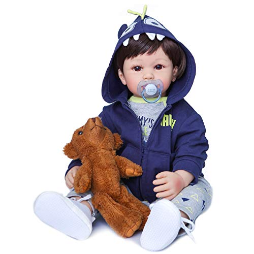 24inch 60cm Reborn Toddler Dolls Real Looking Soft Silicone Head Cloth Weighted Body Realistic Dinosour Toys Present (Boy 3)