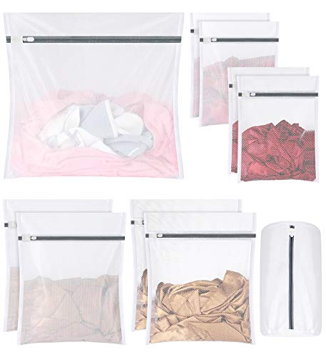 Syntus 10 Pcs Mesh Laundry Bags with Zipper, Lingerie Washing Bags for Laundry, Travel Storage Organize Bag, Clothing Bags for Blouse, Hosiery, Stocking, Underwear, Bra, Protect Cloth Shape