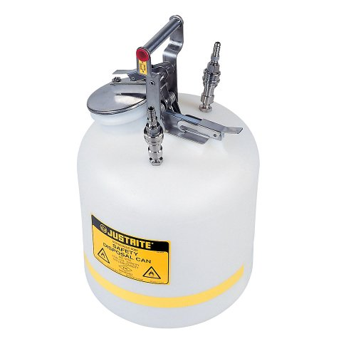 JUSTRITE Manufacturing PP12755 Polyethylene Quick-Disconnect Disposal Safety Can, 5 gal Capacity, Polypropylene Fittings for 3/8