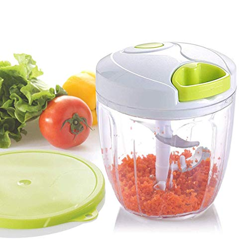 Smile Mom Manual Food Chopper, Quick Hand Pull Vegetable Chopper/Mincer(3 cup) for Onions/Garlic/Herbs/Meats/Salad with Storage Lids