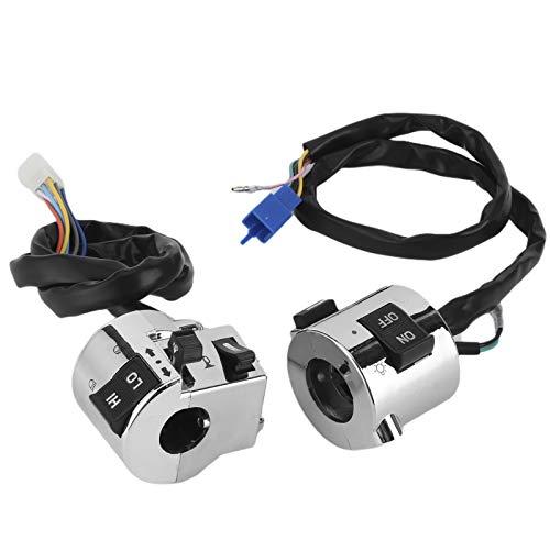 aqxreight - 1 par de botones de control de encendido/apagado de faros delanteros de 25 mm para faros delanteros, luz de señal de giro, bocina eléctrica, conjunto de interruptor de manillar universal
