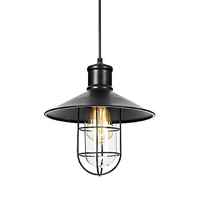 T&A Cage Pendant Lights Industrial Edison Kitchen Barn Hanging Lights(Black)