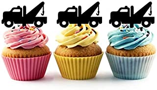 TA0856 Tow Truck Silhouette Party Wedding Birthday Acrylic Cupcake Toppers Decor 10 pcs