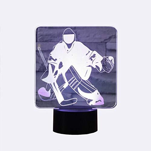 YKMY Neuheit Eishockey Goalie 3D Illusion Lampen LED Nachtlichter USB 7 Farben Sensor Schreibtischlampe für Outdoor Sports Liebhaber Sammlung