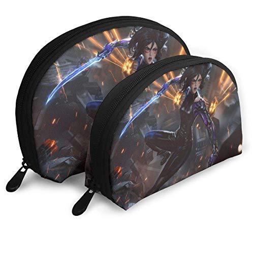 Alita Battle Angel Bolsa de maquillaje con forma de concha portátil bolsa de embrague monedero multifunción organizador para mujeres viaje impermeable con cremallera bolsas de almacenamiento 2 piezas