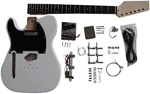 gd6666 Coban Guitars Eschen- Körper E-Gitarre Selbstbau-Kit Linkshänder für Student & Gitarrenbauer zeigt - weiß L/h, Full size