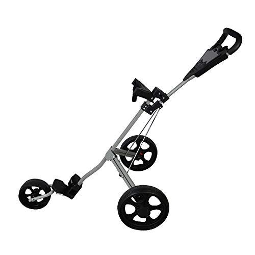 QQLK Golftrolley Faltbar, Unisex, 3 Rad Faltbarer Golf Pull/Push Trolley, Golf Pull Cart FüR Golfsport Im Freien,Grau