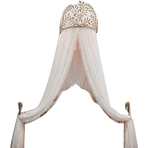 Dosel De Cama De Encaje De Princesa con Corona, Mosquitera De Corte De Cortina De Cama Nórdica con Corona Dorada Moderna para Cama King Queen