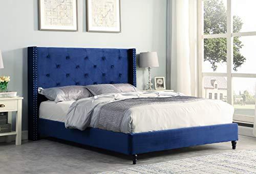 Best Master Furniture Vero Tufted Wingback Platform Bed, Cal. King, Navy Blue