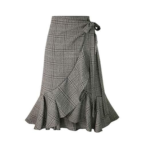 Shinehua rok voor dames, rok, vintage, casual, zakelijk rok, midi, knielengte, rok, stretchy, rok, rok, rekbaar, hoge taille, kort skirt, minirok, geruit, kilt-rok Large grijs