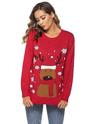 Sykooria Jersey de Punto para Mujer, Navidad Muñeco de Nieve Reno Jersey de Manga Larga Cuello Redondo Copo de Nieve Suéter Suave de Invierno Top de Navidad