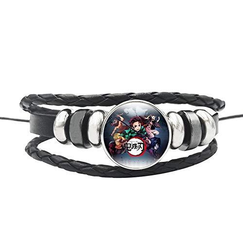 cluis Demon Slayer: Kimetsu no Yaiba, pulsera de cuerda de cuero hecha a mano con cristal cabujón pulsera Cosplay joyería regalo para niñas y mujeres (estilo 08)