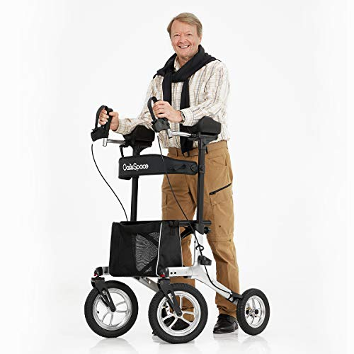 """OasisSpace Pneumatic Armrest Walker, All Terrain Tall Walker with Seat,Tall Rolling Mobility Walking Aid with 12"""" Pneumatic Wheels, Seat and Armrest for Seniors and Adults"""