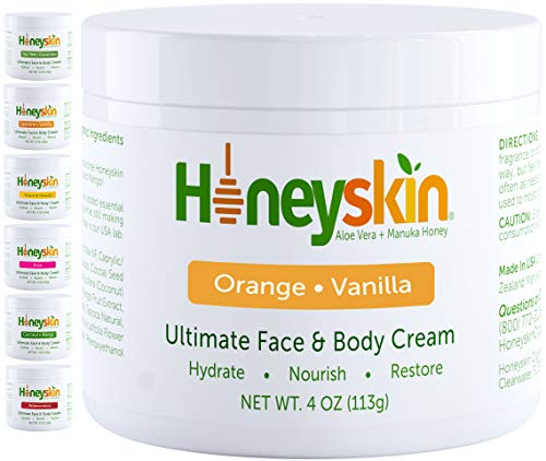 Natural Face and Body Cream Moisturizer - with Raw Manuka Honey, Shea Butter and Aloe Vera - Eczema, Acne, Redness and Dry Skin Treatment - Anti Aging and Wrinkles - Natural Orange Vanilla Scent (4oz)