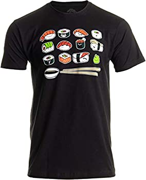 Happy Sushi | Funny Cute Fun Japanese Food Go Rice Art for Men Women T-Shirt- Adult,L  Black