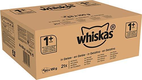Whiskas Cibo per Gatti adulti, con Pollo, Salmone, Manzo e Tonno in Gelatina, 84 Bustine, 84 x 100 g