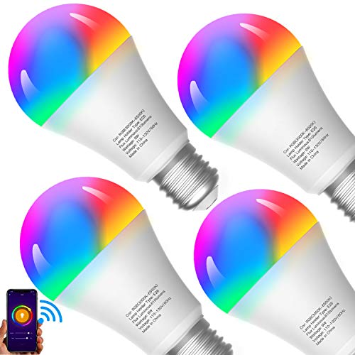 Smart Light Bulbs, Compatible with Alexa/Google Home/Echo, eLinkSmart WiFi LED Dimmable RGB 16 Million Color Changing,Timing, A19 E26 9W Engery Saving, 2.4Ghz WiFi Only, No Hub Required, 4 Pack