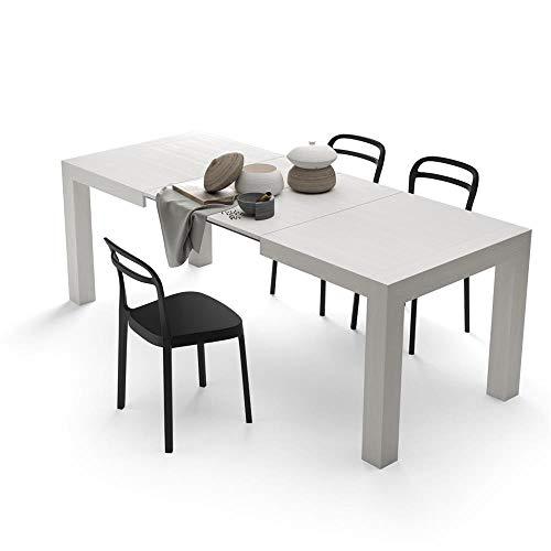 Mobili Fiver, Tavolo Allungabile Moderno, Iacopo, Bianco Frassino, 140 x 90 x 77 cm, Nobilitato, Made in Italy, Disponibile in Vari Colori